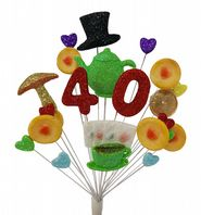 Tea party 40th birthday cake topper decoration - free postage